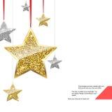 Fondo di scintillio con le stelle d'attaccatura dell'oro e dell'argento Immagine Stock