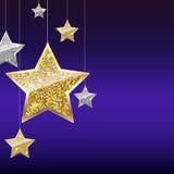 Fondo di scintillio con le stelle d'attaccatura dell'oro e dell'argento Fotografia Stock Libera da Diritti