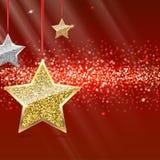Fondo di scintillio con le stelle d'attaccatura dell'oro e dell'argento Immagini Stock
