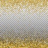 Fondo di scintillio dell'oro Scintille dorate sul confine Il modello per la festa progetta, invito, partito, compleanno, nozze, n