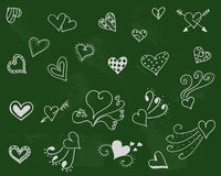 Fondo di simbolo di tenerezza Insieme di amore Giorno di romance di scarabocchio Immagini Stock