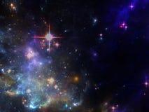 Fondo di Spcae con la nebulosa e galassie e stelle Immagine Stock Libera da Diritti