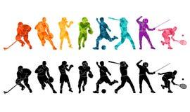 Fondo di sport di colore Calcio, calcio, pallacanestro, hockey, scatola, tennis, baseball Silhouett variopinto della gente dell'i royalty illustrazione gratis