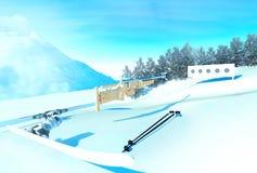 Fondo di sport con biathlon Immagine Stock