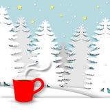 Fondo di stagione invernale con vettore e l'illustrazione rossi di progettazione di arte della tazza e della carta di caffè illustrazione di stock