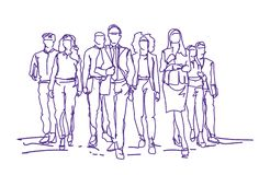 Fondo di Team Moving Forward Over White delle persone di affari di schizzo, gruppo di gente di affari disegnata a mano illustrazione vettoriale