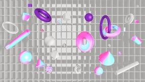 Fondo di tecnologia con gli scaffali e la geometria 3D royalty illustrazione gratis