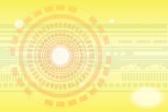 Fondo di tecnologia con i colori dorati illustrazione di stock