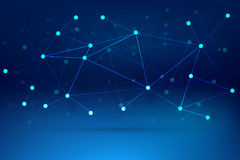 Fondo di tecnologia con le linee collegate blu Fotografia Stock