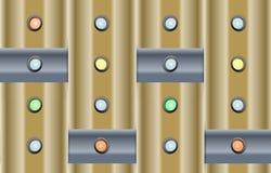 Fondo di tecnologia con le luci di indicatori ed i coni retinici metallici Fotografia Stock Libera da Diritti