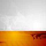 Fondo di tecnologia con mappa bassa di mondo e la poli Fotografia Stock