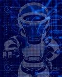fondo di tecnologia 3D con progettazione del robot royalty illustrazione gratis