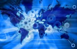 Fondo di tecnologia della mappa di mondo degli affari illustrazione vettoriale