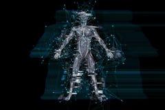 fondo di tecnologia digitale 3D con effetto di impulso errato sulla figura medica maschio illustrazione di stock