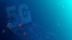 fondo di tecnologia 5G Dati di Digital come le cifre si sono collegate ed il simbolo 5G della forma su fondo blu Cellulare della  royalty illustrazione gratis