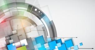 Fondo di tecnologia, idea della soluzione di affari globali Immagine Stock