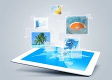 Fondo di tecnology della compressa Fotografia Stock