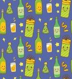 Fondo di tema del partito con la bevanda di kawaii illustrazione vettoriale