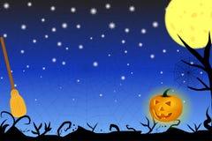 Fondo di tema di Halloween con le ombre, la luna e la scopa nere Fotografia Stock Libera da Diritti