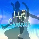 Fondo di tema di estate con la scena vaga della spiaggia Fotografie Stock
