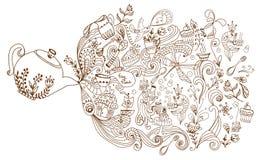 Fondo di tempo del tè, illustrazione di scarabocchio Fotografie Stock Libere da Diritti