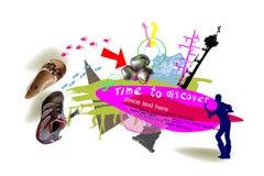 Fondo di tempo di viaggio, collage Immagini Stock Libere da Diritti