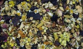 Fondo di tisana secca con la camomilla e frutti delle piante differenti Fotografia Stock Libera da Diritti