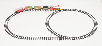 Fondo di Toy Train Isolated Over White di Natale Fotografie Stock Libere da Diritti