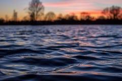 Fondo di tramonto del lago Immagine Stock Libera da Diritti