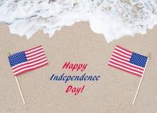 Fondo di U.S.A. di festa dell'indipendenza con la bandiera Fotografia Stock Libera da Diritti