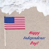 Fondo di U.S.A. di festa dell'indipendenza con la bandiera Fotografie Stock