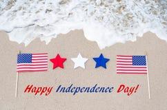 Fondo di U.S.A. di festa dell'indipendenza con la bandiera e le stelle Fotografie Stock