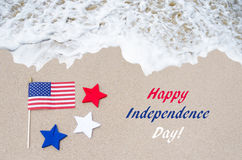 Fondo di U.S.A. di festa dell'indipendenza con la bandiera e le stelle Immagini Stock Libere da Diritti