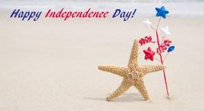 Fondo di U.S.A. di festa dell'indipendenza con le stelle marine Fotografie Stock Libere da Diritti