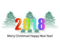 fondo 2018 di un albero di Natale innevato del nuovo anno su un wh Fotografia Stock Libera da Diritti