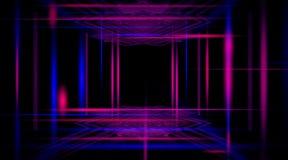 Fondo di un corridoio nero vuoto con luce al neon Fondo astratto con le linee e l'incandescenza illustrazione di stock