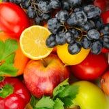 fondo di un insieme delle verdure e della frutta Immagini Stock