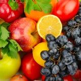fondo di un insieme delle verdure e della frutta Fotografia Stock Libera da Diritti