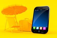 Fondo di vacanza con lo Smart Phone Fotografia Stock Libera da Diritti