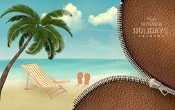 Fondo di vacanza con una chiusura lampo. Immagine Stock