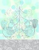 Fondo di vacanza invernale con gli uccelli svegli Fotografie Stock