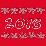Fondo di vacanza invernale del nuovo anno 2016, fiocco di neve e numeri rossi, invito del partito del modello Fotografie Stock