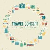 Fondo di vacanze estive con le icone di viaggio Vettore Fotografia Stock