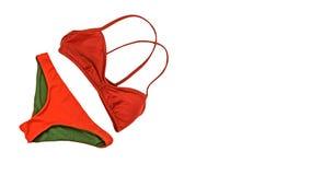 Fondo di vacanze estive, costumi degli accessori di viaggio, bikini Fotografie Stock Libere da Diritti