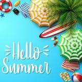 Fondo di vacanze estive nella sabbia blu della spiaggia Vista superiore delle collezioni dell'elemento della spiaggia illustrazione di stock
