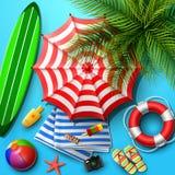 Fondo di vacanze estive nella sabbia blu della spiaggia Vista superiore delle collezioni dell'elemento della spiaggia illustrazione vettoriale