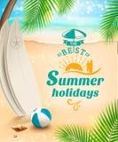 Fondo di vacanze estive - surf sopra contro la spiaggia e le onde Illustrazione di vettore Fotografia Stock