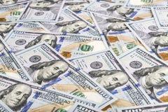 Fondo di valuta dei dollari degli Stati Uniti d'America, nuovo hundre Fotografia Stock Libera da Diritti