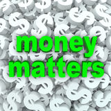Fondo di valuta del simbolo di dollaro di parole delle questioni finanziarie Fotografie Stock Libere da Diritti