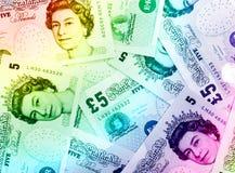 Fondo di valuta della libbra - arcobaleno Fotografie Stock